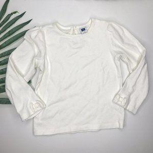 Janie & Jack White Girls Bow Sleeve T-Shirt Basic